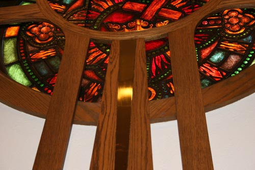 Oak And Brass Chancel Cross (10u0027) Integrated With Existing Stained Glass  Rose Window. Centenary United Methodist Church Cape Girardeau, MO